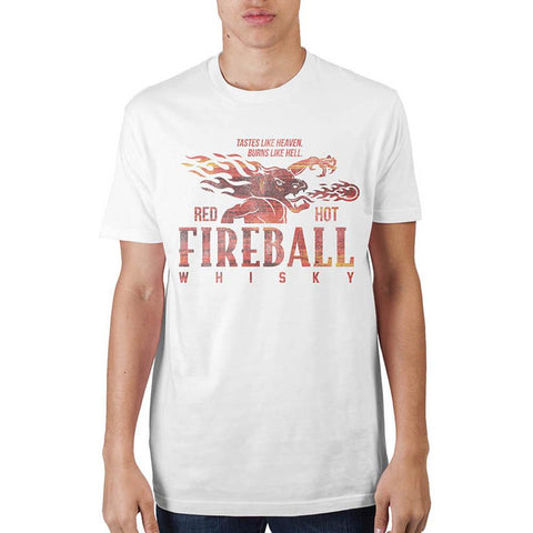 Fireball Whiskey Mens White  T-Shirt - Life Rush Apparel