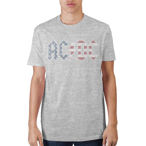 AC/DC Americana Logo Men's Grey T-Shirt - Life Rush Apparel