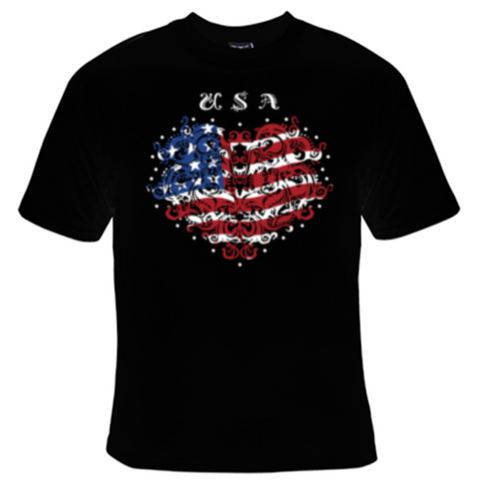 USA Heart Flag T-Shirt Men's - Life Rush Apparel