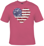 American Flag Distressed Heart T-Shirt Women's - Life Rush Apparel