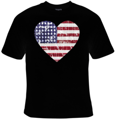 American Flag Distressed Heart T-Shirt Men's - Life Rush Apparel