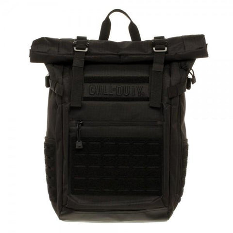 Call of Duty Black Military Roll Top Backpack w/ Laser Cuts - Life Rush Apparel