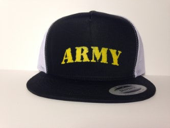 ARMY Hat Black & White Snapback - Life Rush Apparel