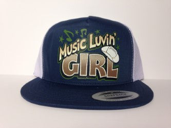Music Luvin' Girl Hat Blue & White Snapback - Life Rush Apparel