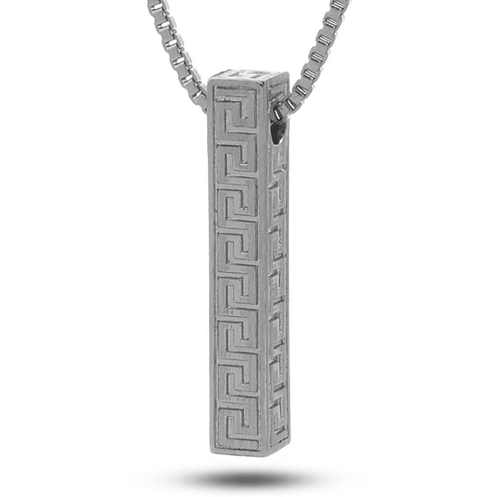 White Gold Greek Key Pillar Necklace from Marz