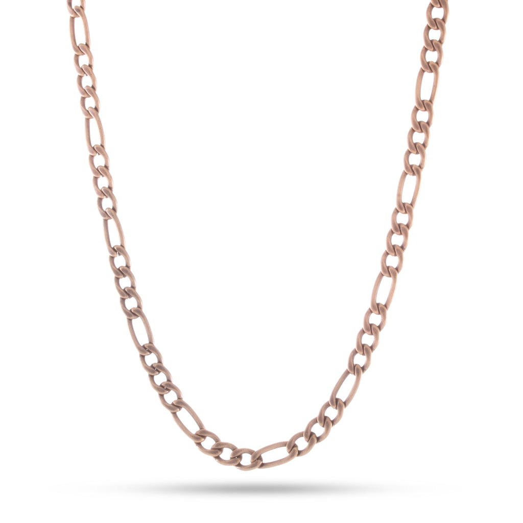 5mm, Vintage Stainless Steel Figaro Chain (Gold)