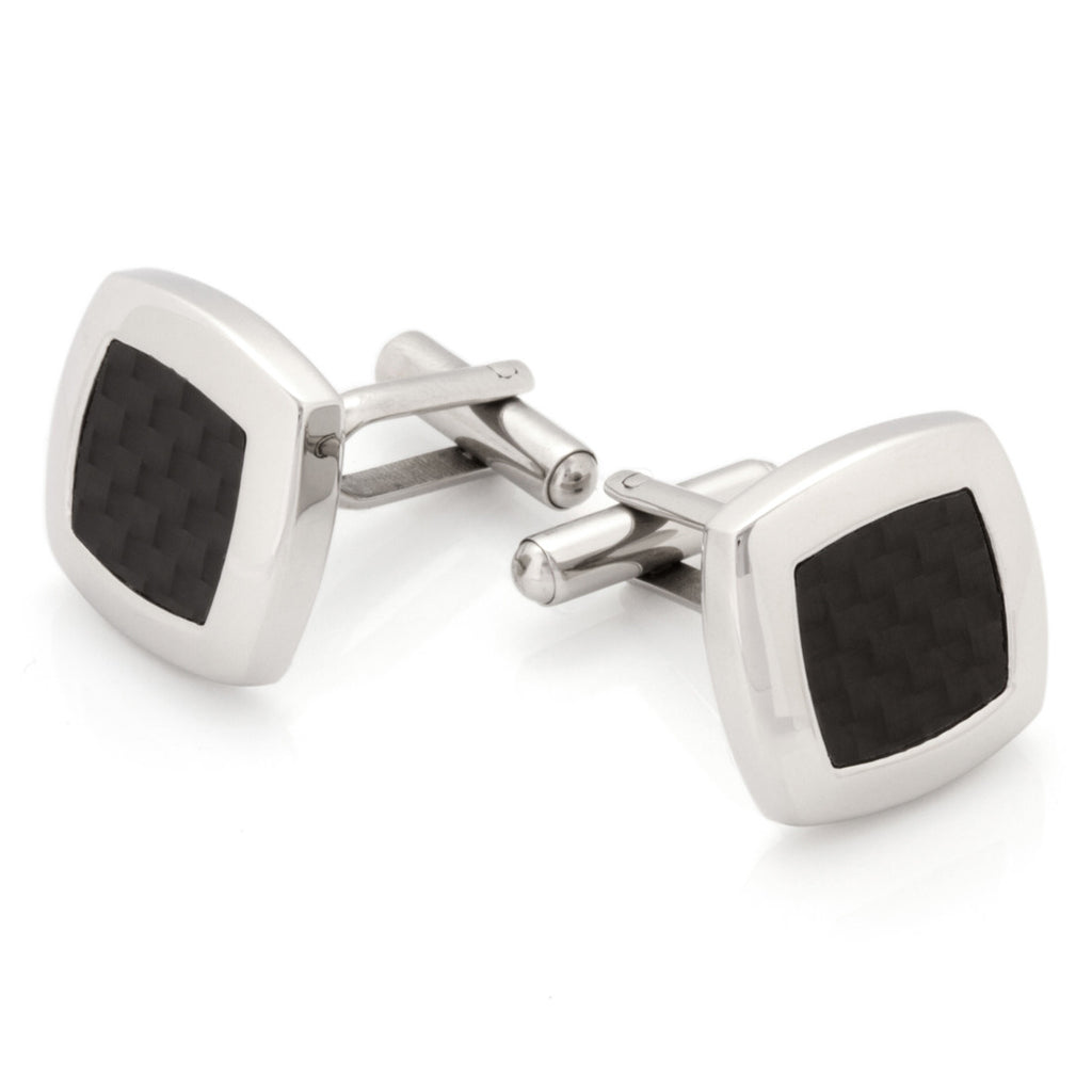 Stainless Steel Classic Mesh Inlay Cuff Link (Two-Tone)