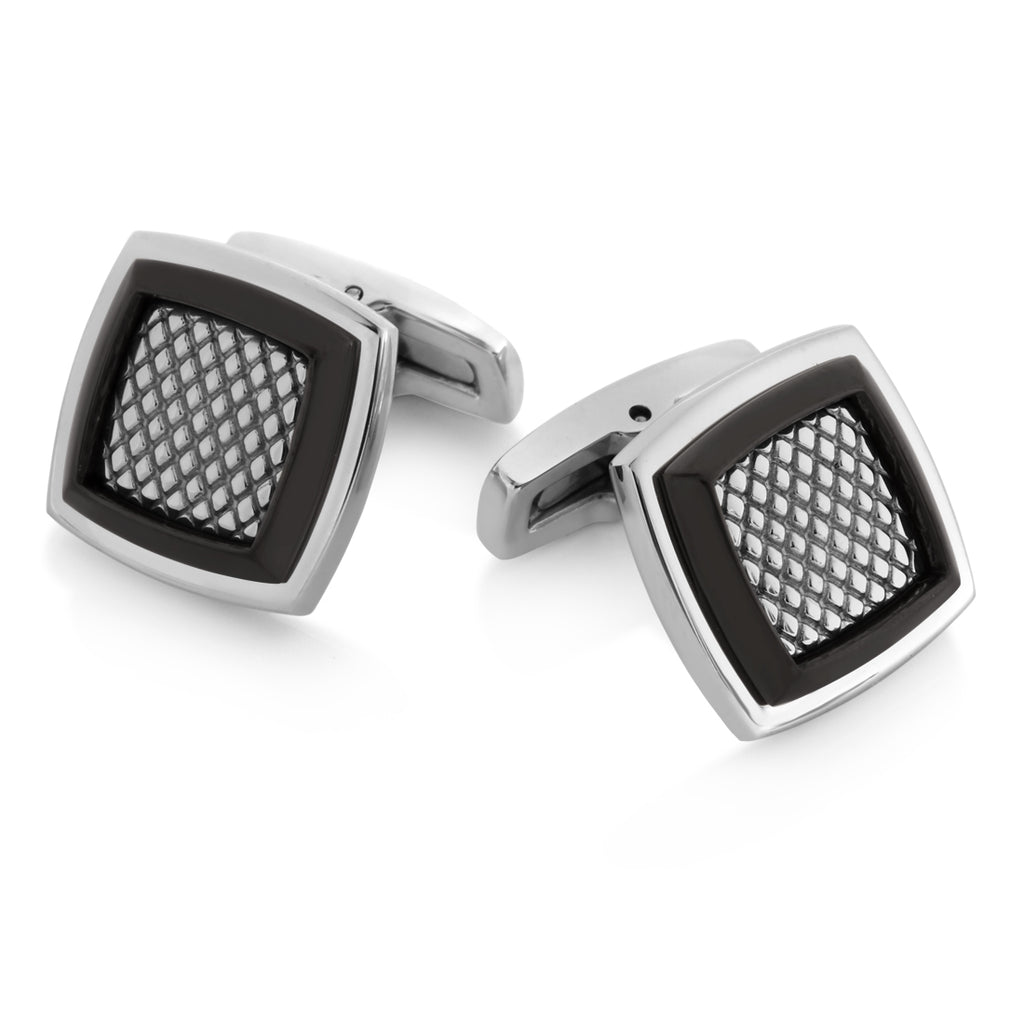 Stainless Steel Classic Mesh Inlay Cuff Links