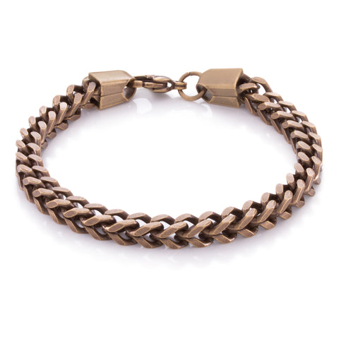 6mm, Vintage Stainless Steel Franco Bracelet (Gold)