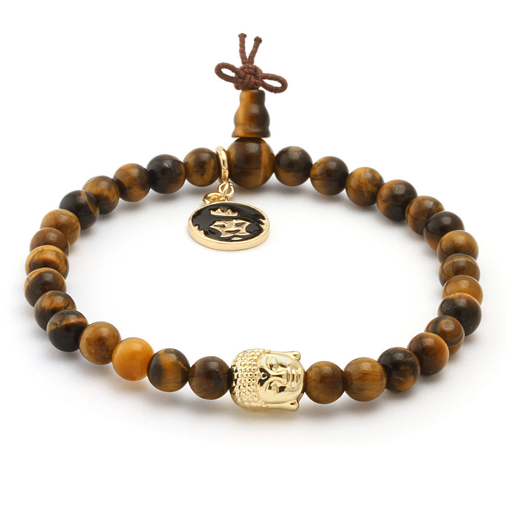 Tiger Eye Gold Buddha Beaded Meditation Bracelet