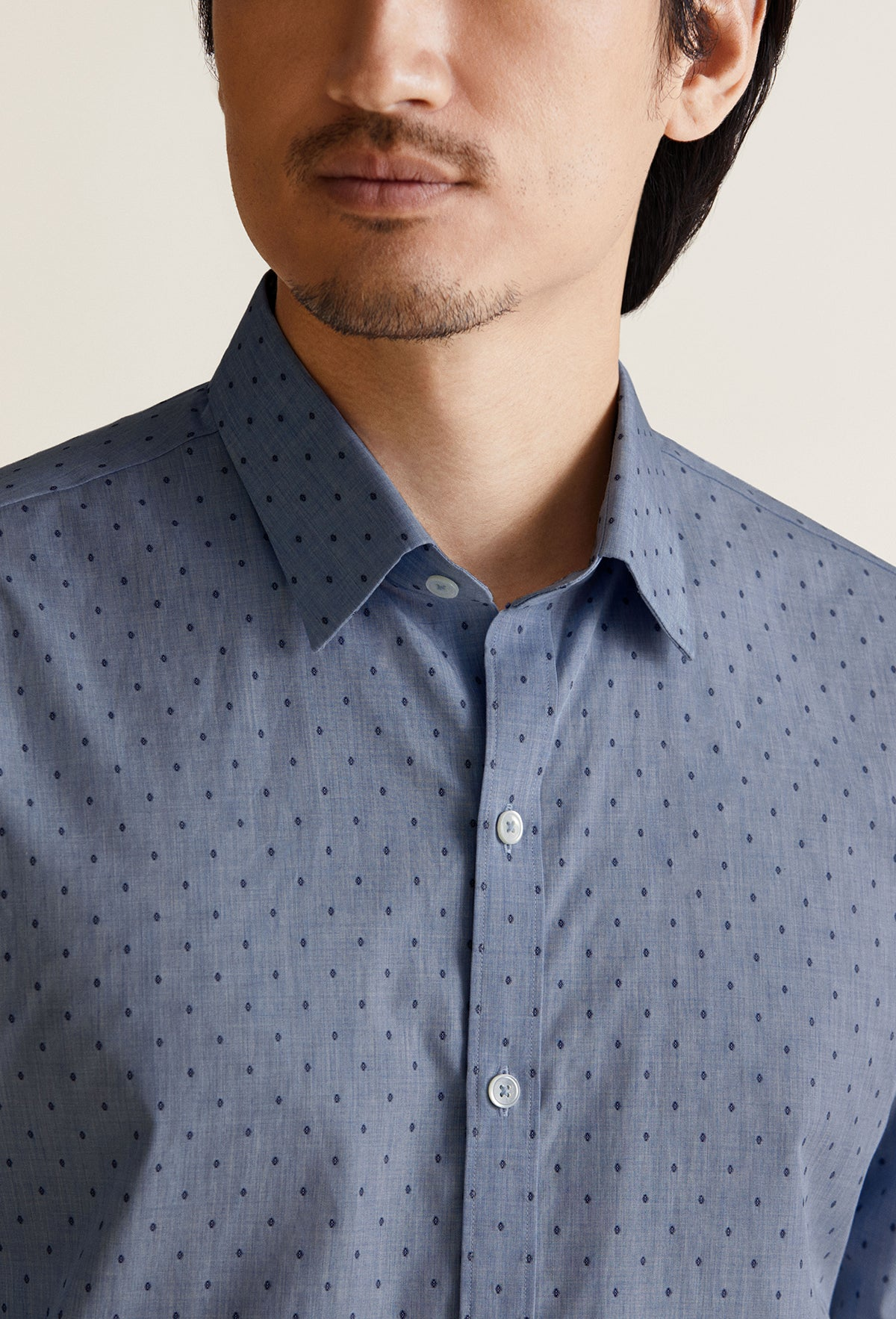men's denim polka dot shirt long sleeve dress shirt
