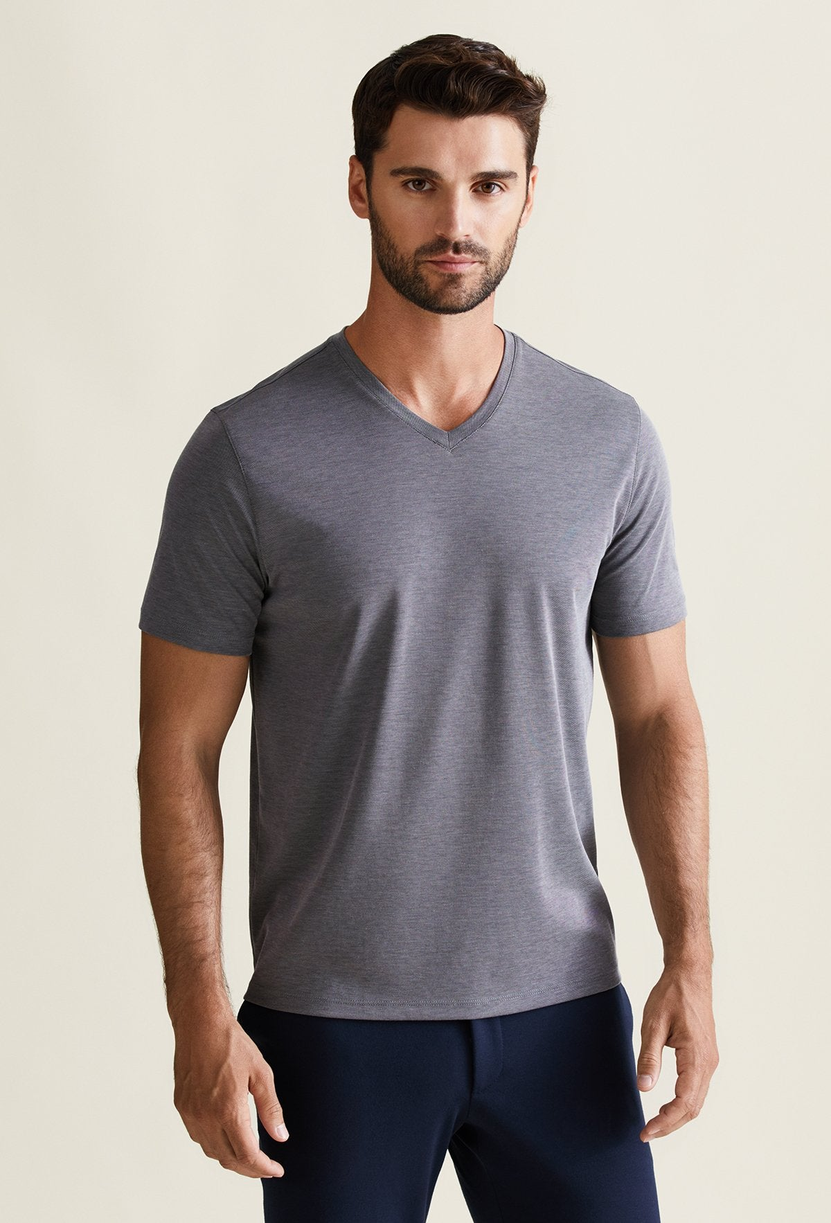 Men's Charcoal Pima Cotton V-Neck T-Shirt - Peruvian Cotton Blend