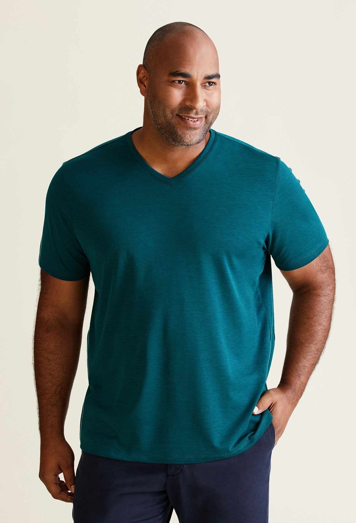 Men's Emerald Green Blue Pima Cotton V-Neck T-Shirt - Peruvian Cotton Blend