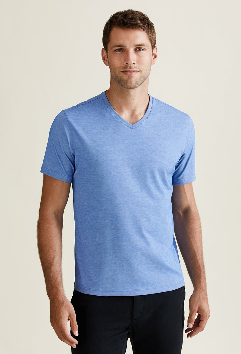Men's Aqua Pima Cotton V-Neck T-Shirt - Peruvian Cotton Blend