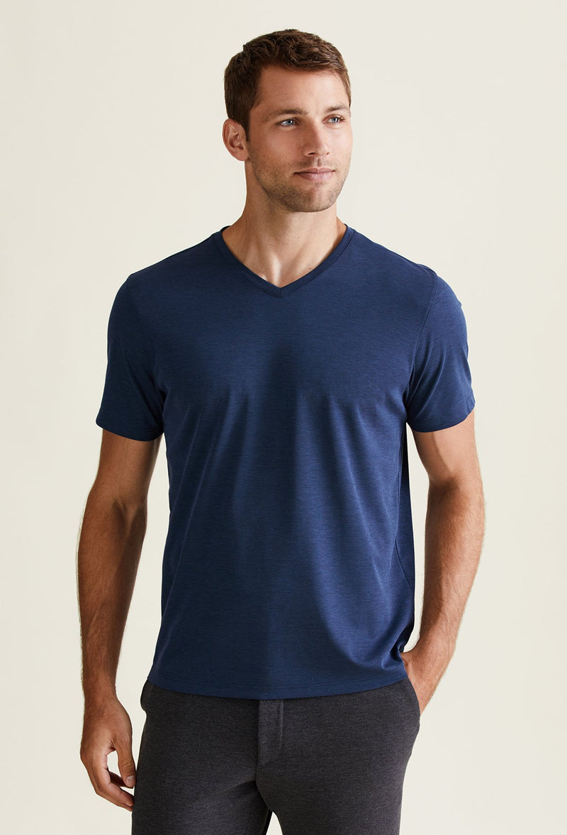 Brookville Blue Pima Cotton V-Neck T-Shirt