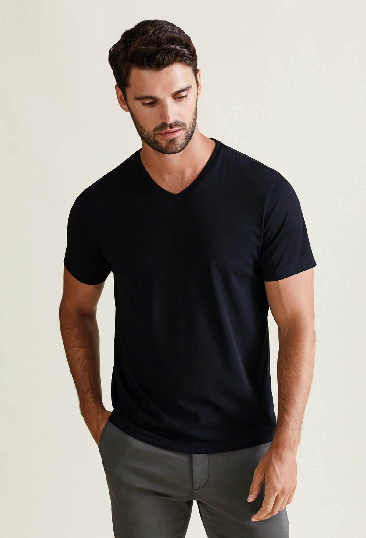 Men's Onyx Pima Cotton V-Neck T-Shirt - Peruvian Cotton Blend
