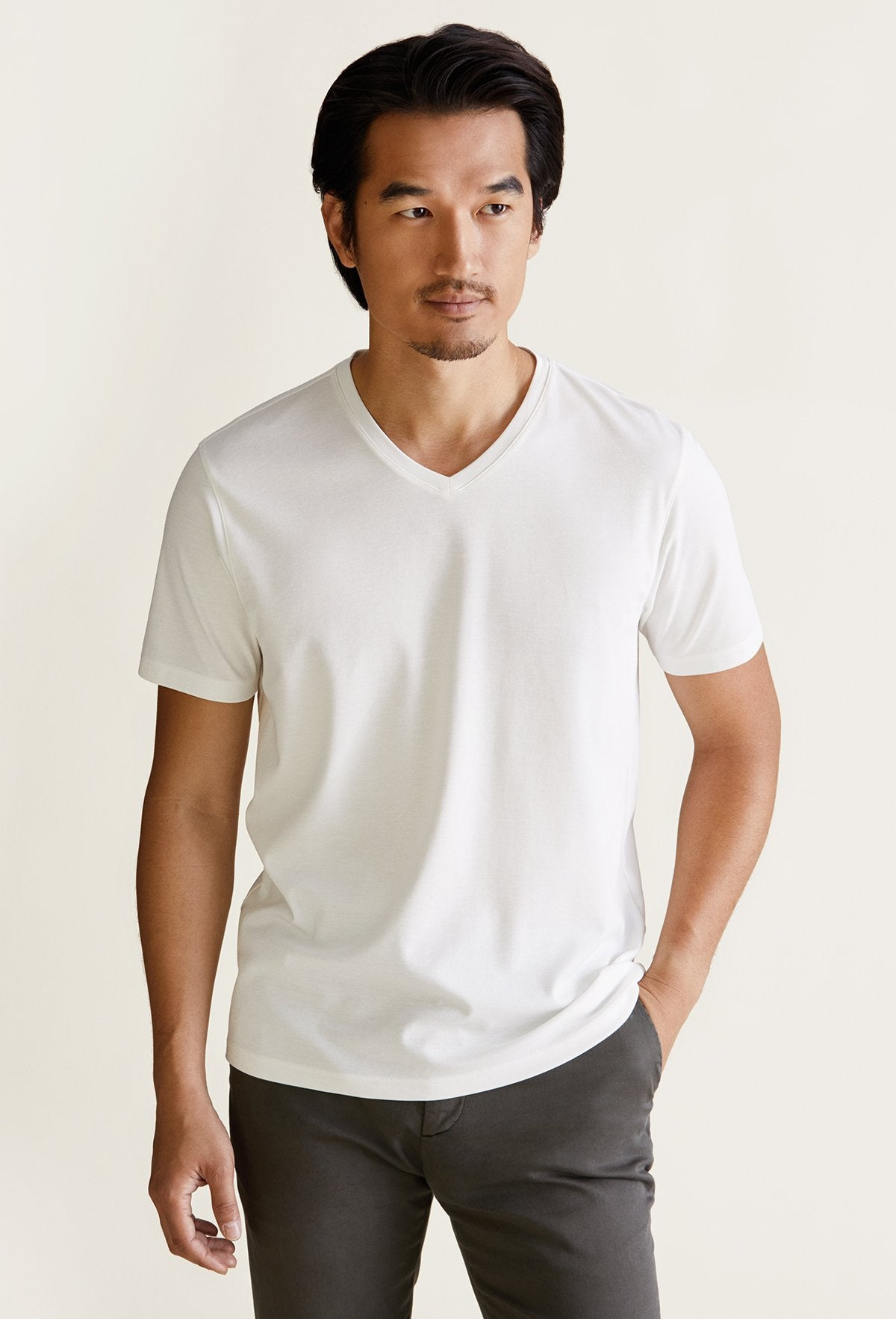 Men's White Pima Cotton V-Neck T-Shirt - Peruvian Cotton Blend
