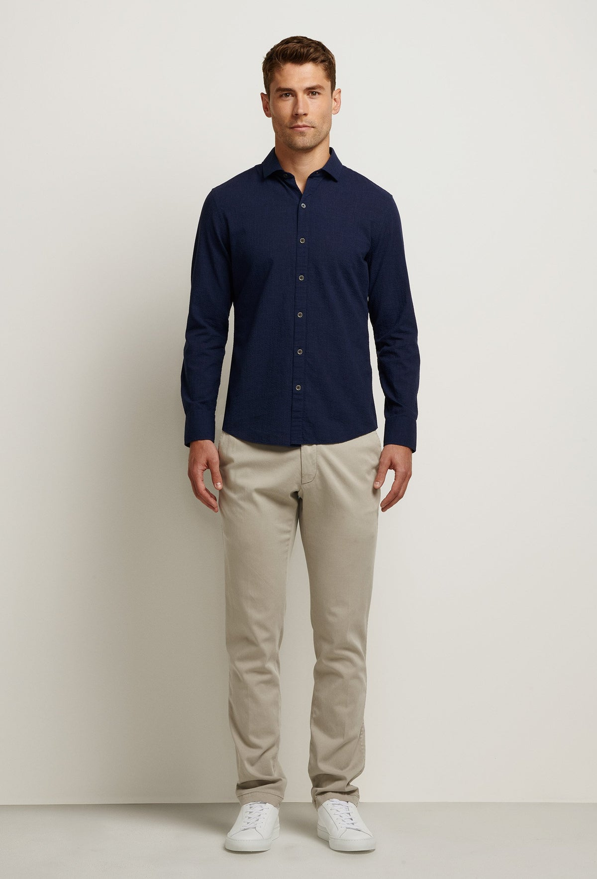 navy blue seersucker shirt long sleeve button down