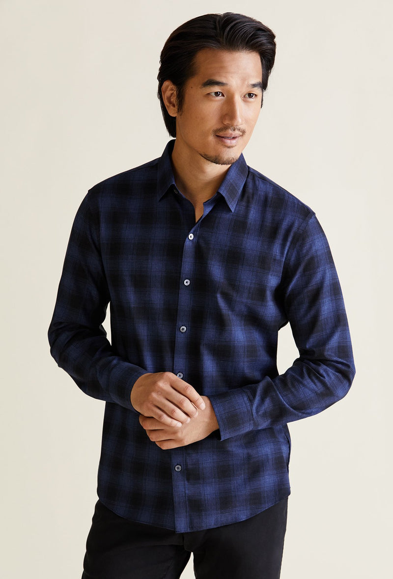blue and black plaid shirt men with point collar and long sleeves