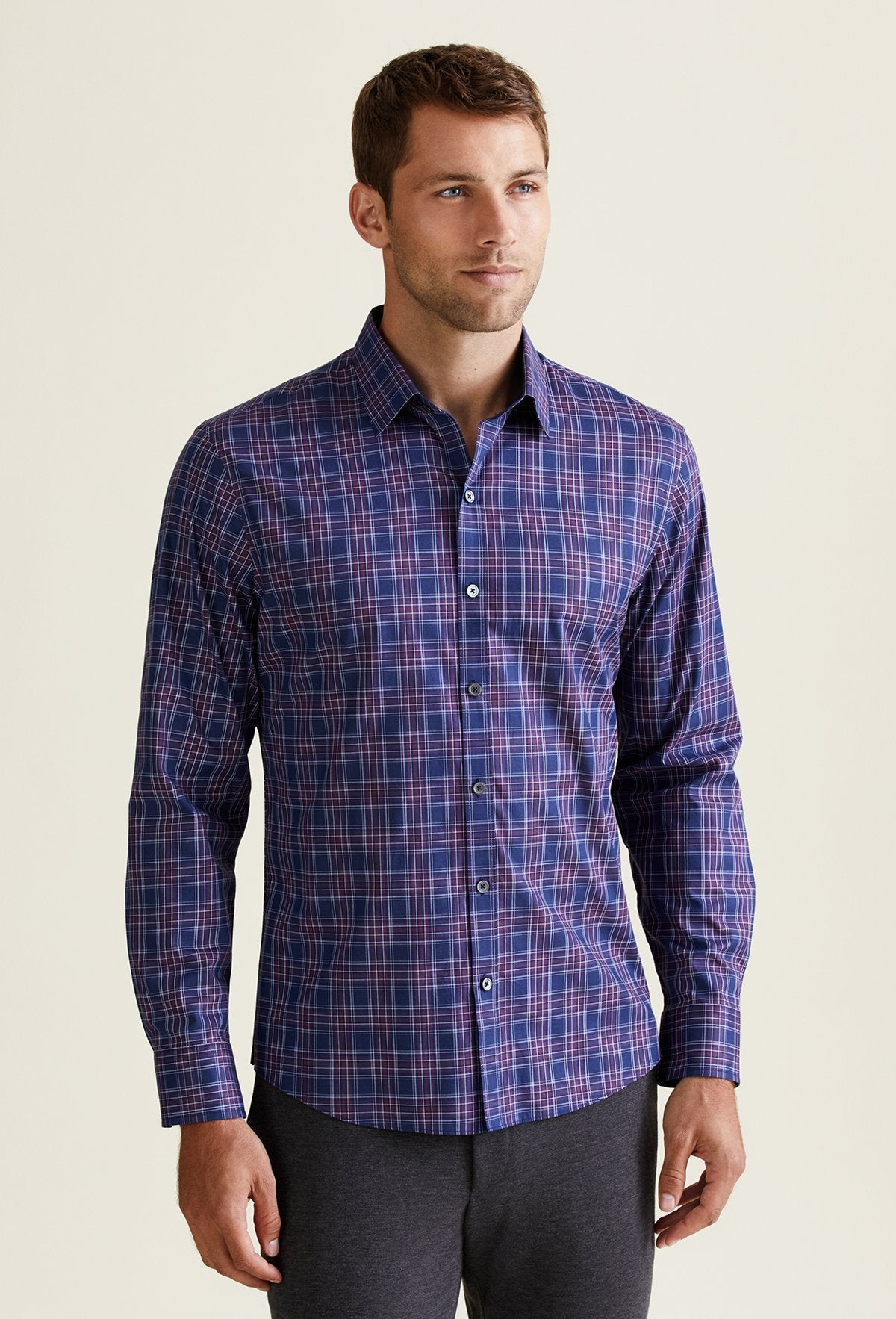 blue and purple plaid shirt for men. 100% cotton with long sleeves