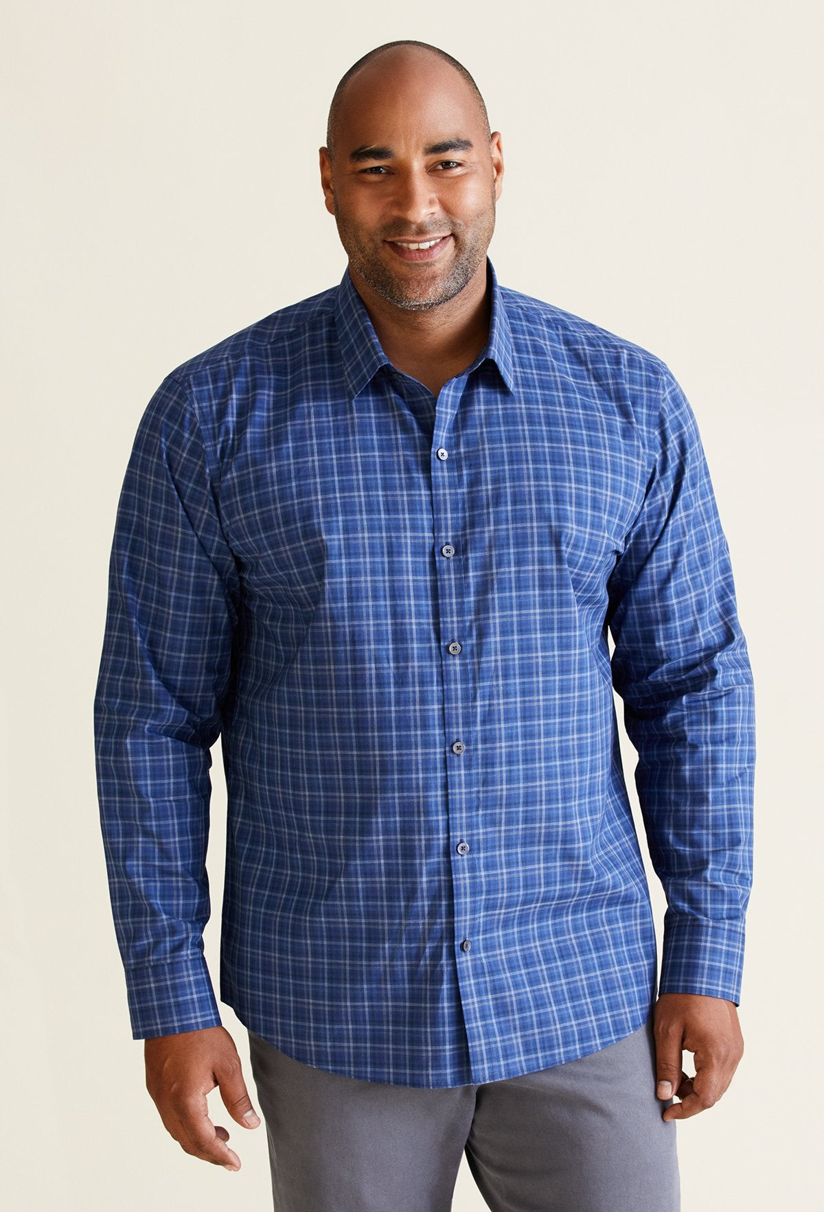 dark blue plaid shirt men's