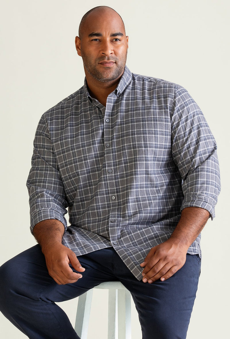 long sleeve gray and white flannel shirt for men