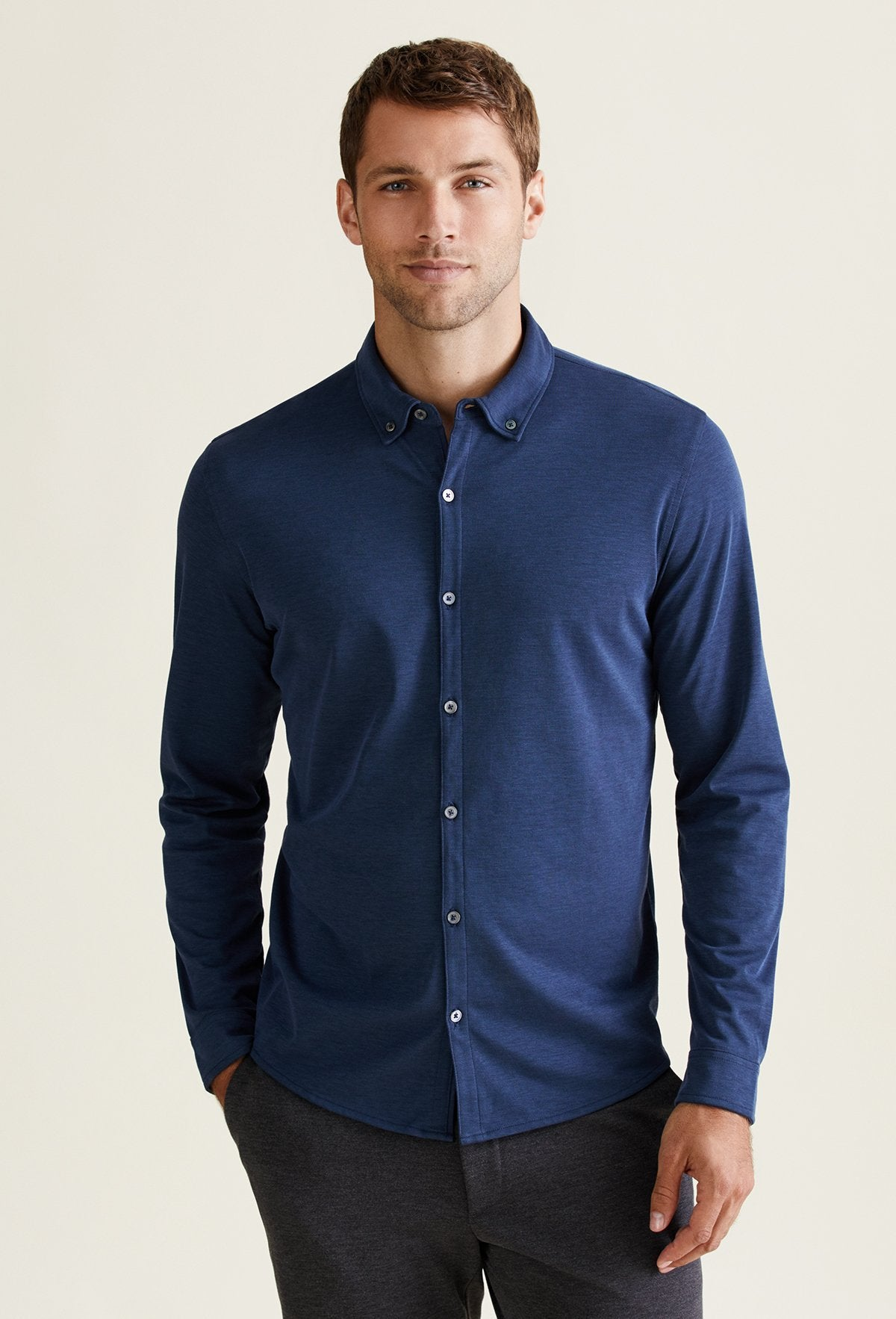 men's long sleeve pima cotton shirt button down