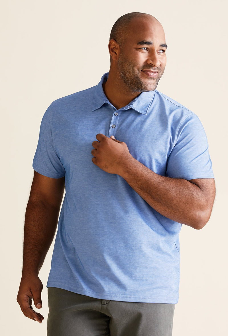 men's 60% cotton 40% polyester polo shirt in blue