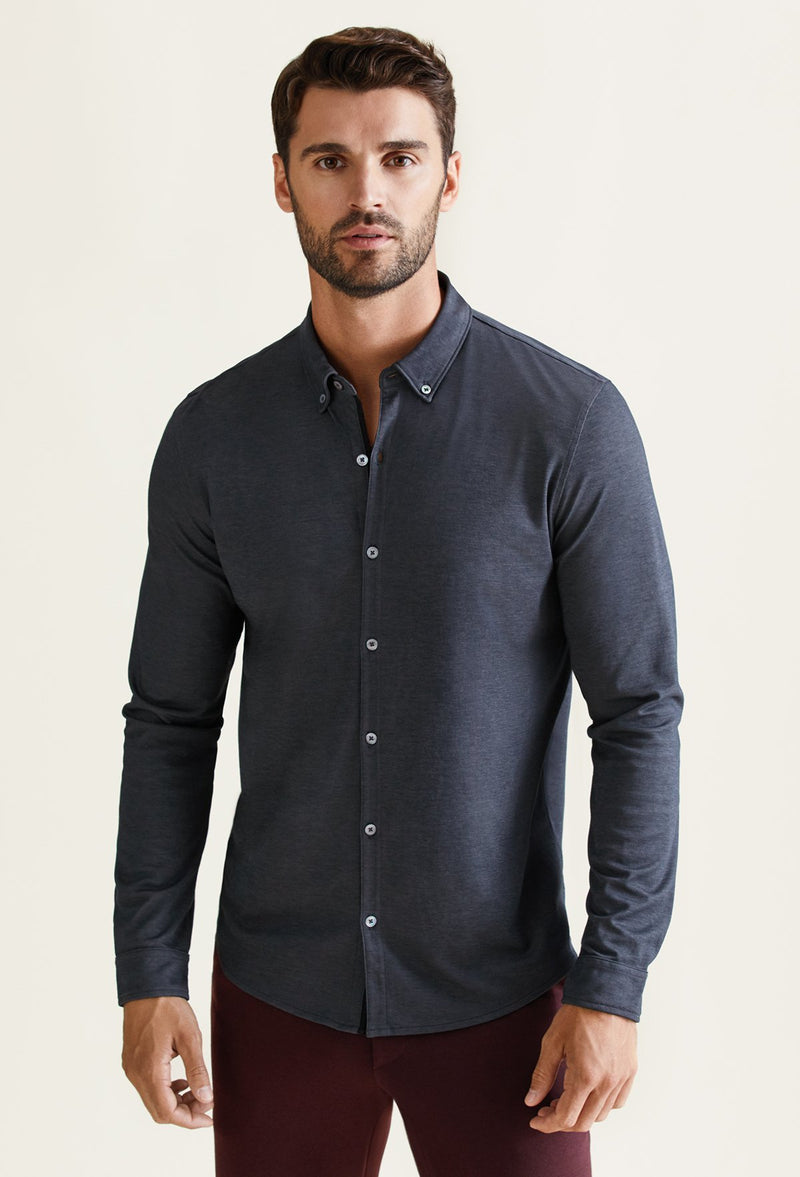 men's black long sleeve button down polo shirt