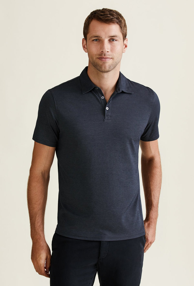 men's black polo shirt made with poly cotton blend