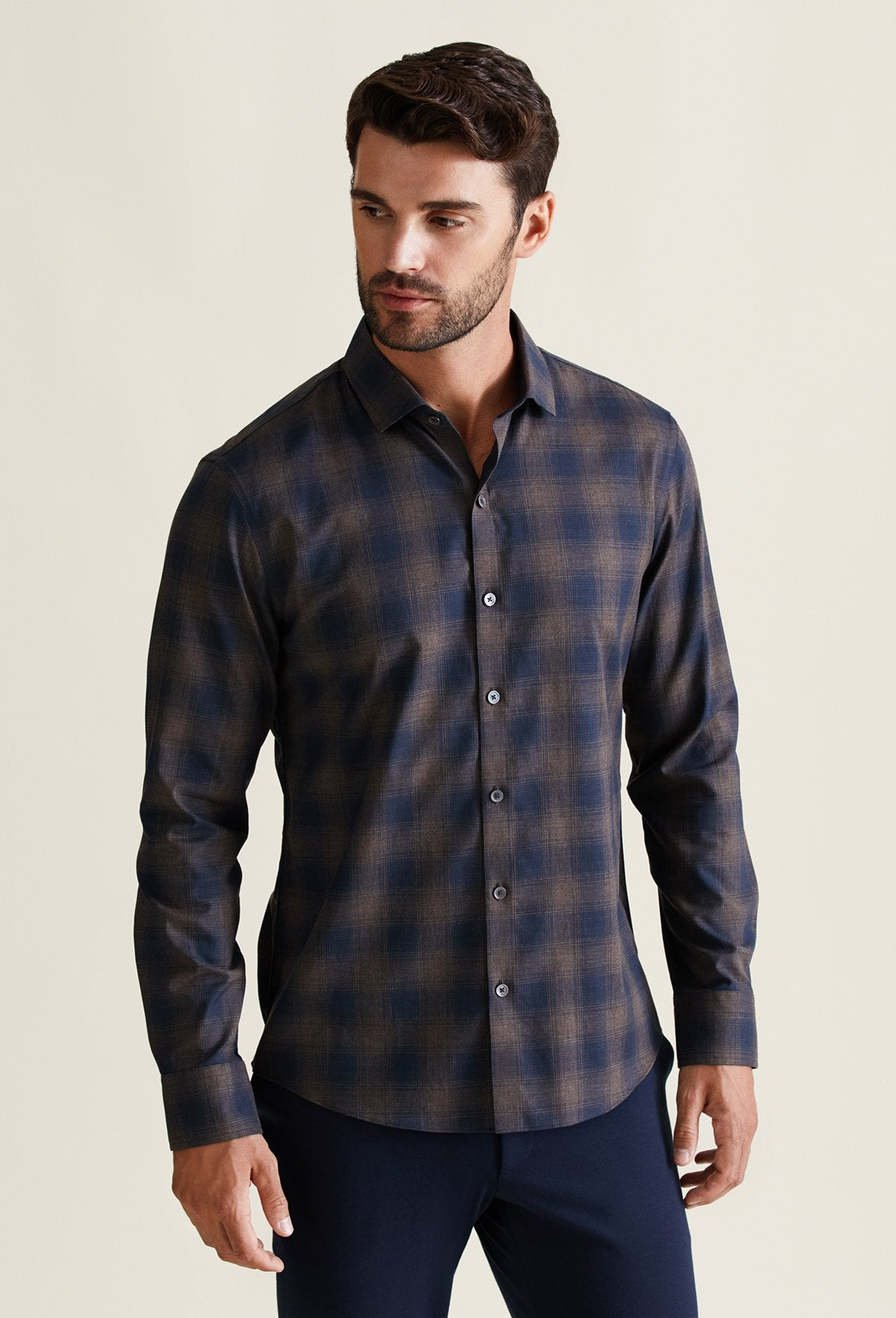 men's long sleeve blue and brown plaid shirt cotton cashmere