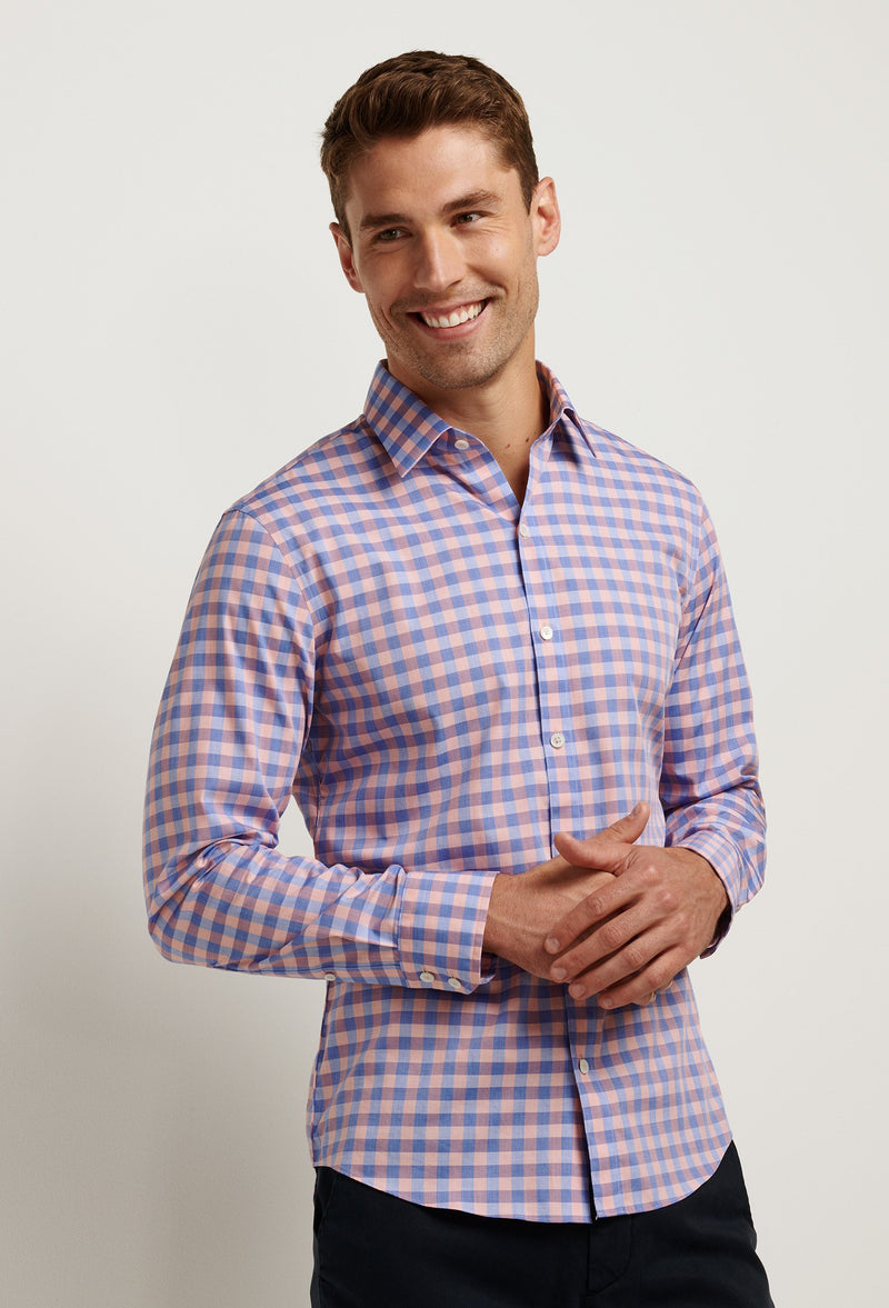 men's coral gingham shirt with blue.. also long sleeve cotton fabric