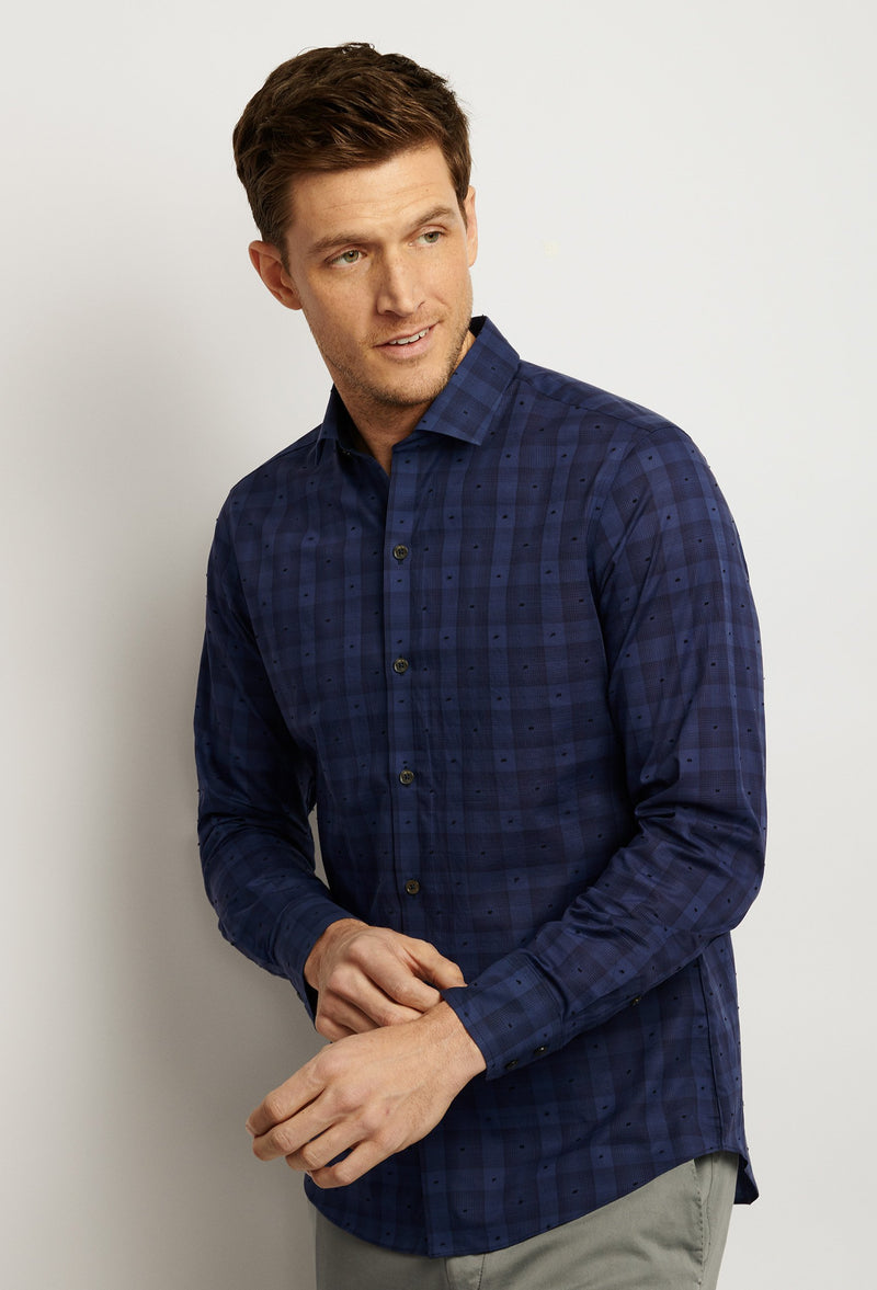 men's dark blue polka dotted plaid shirt