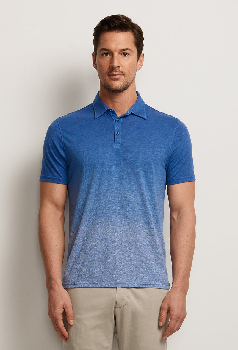men's dip dyed polo shirt blue gradient degrade effect