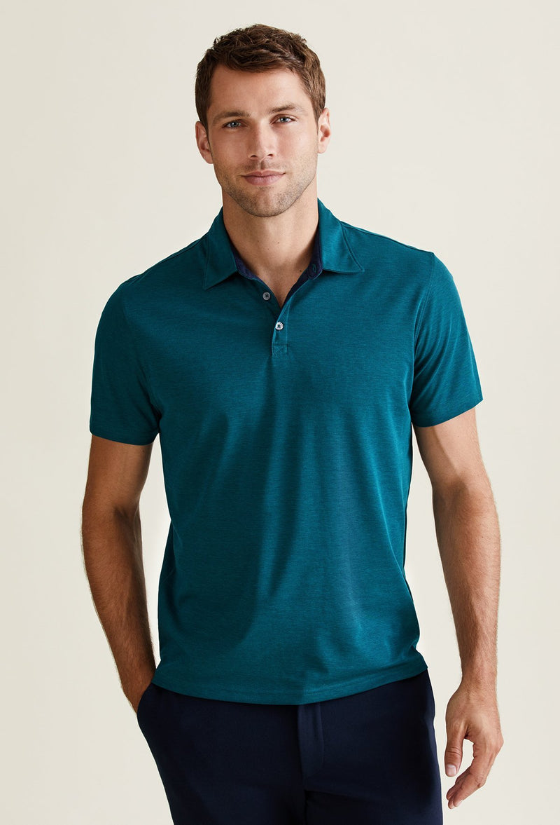 men's emerald green polo made from peruvian pima cotton and polyester
