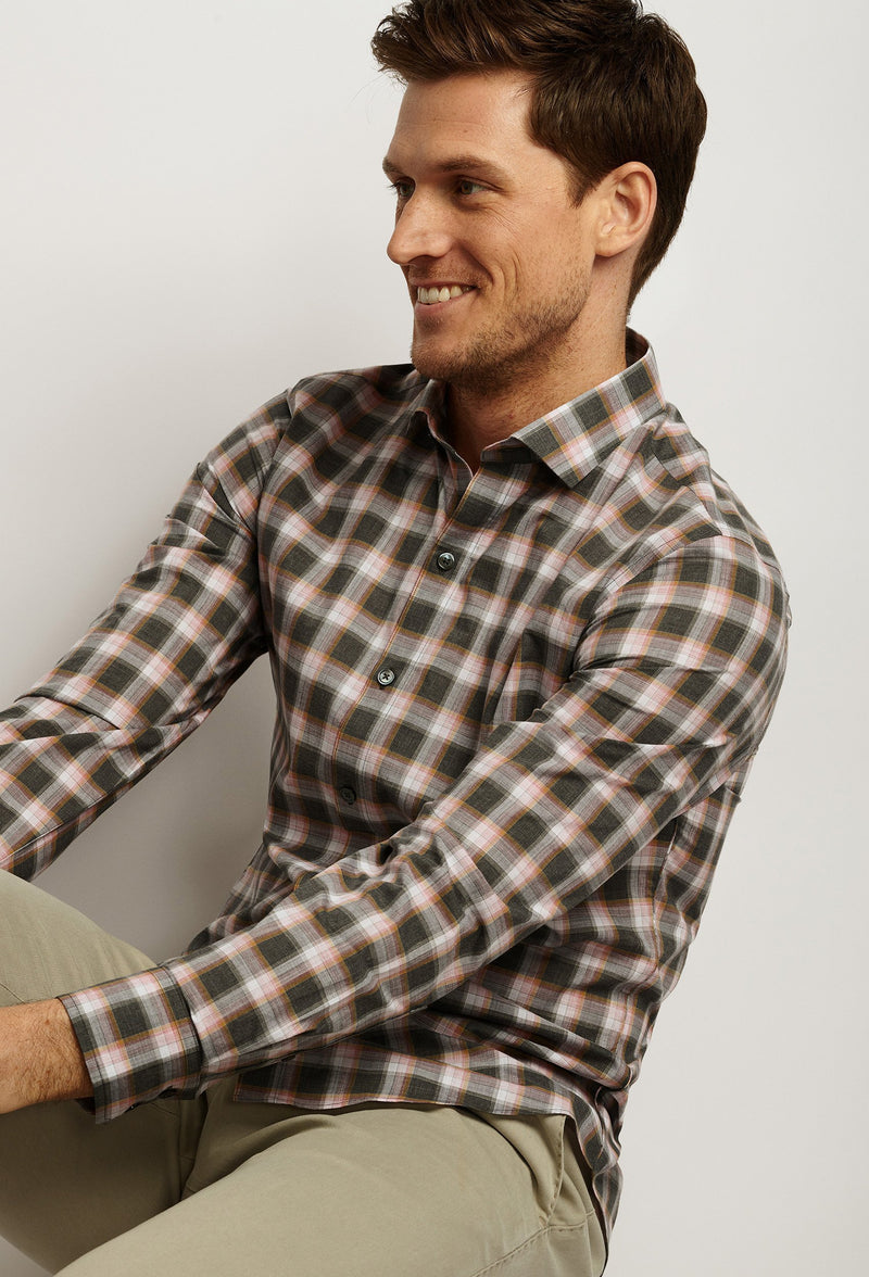 men's gray and coral plaid dress shirt long sleeve