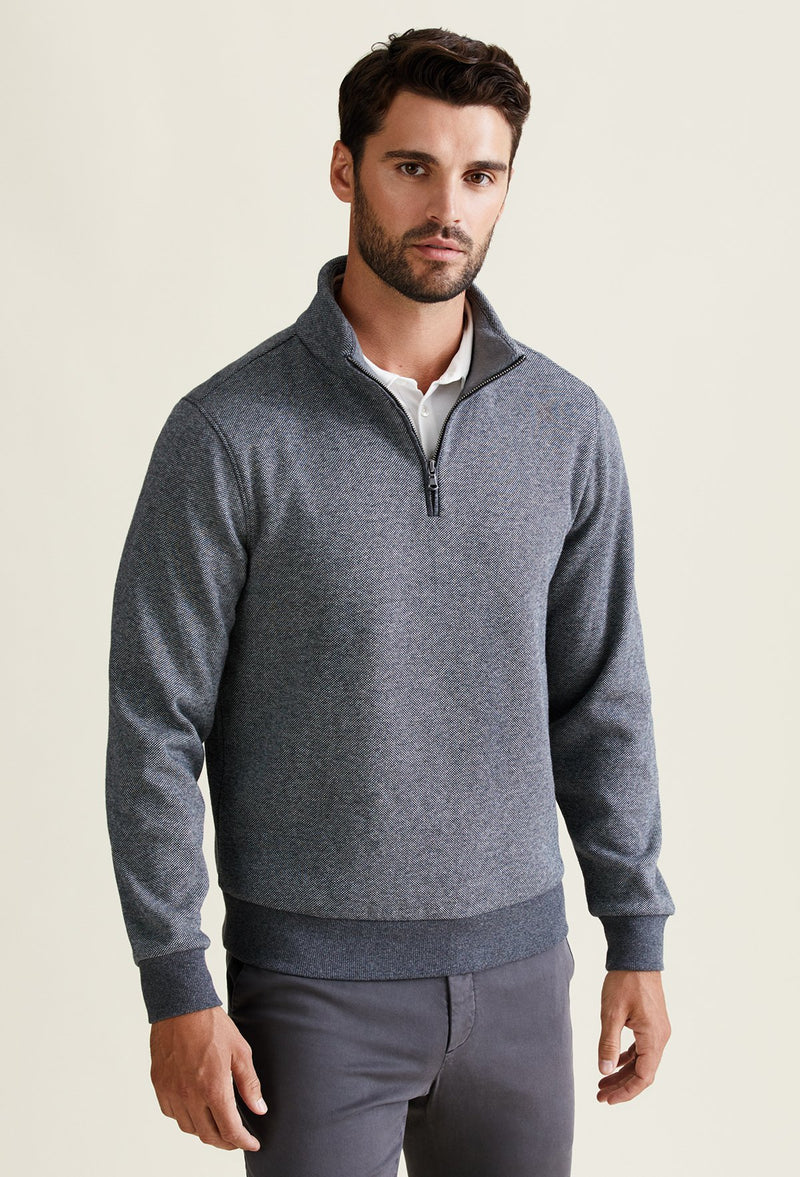 grey quarter zip sweater for men made from polyester, cotton and elastane