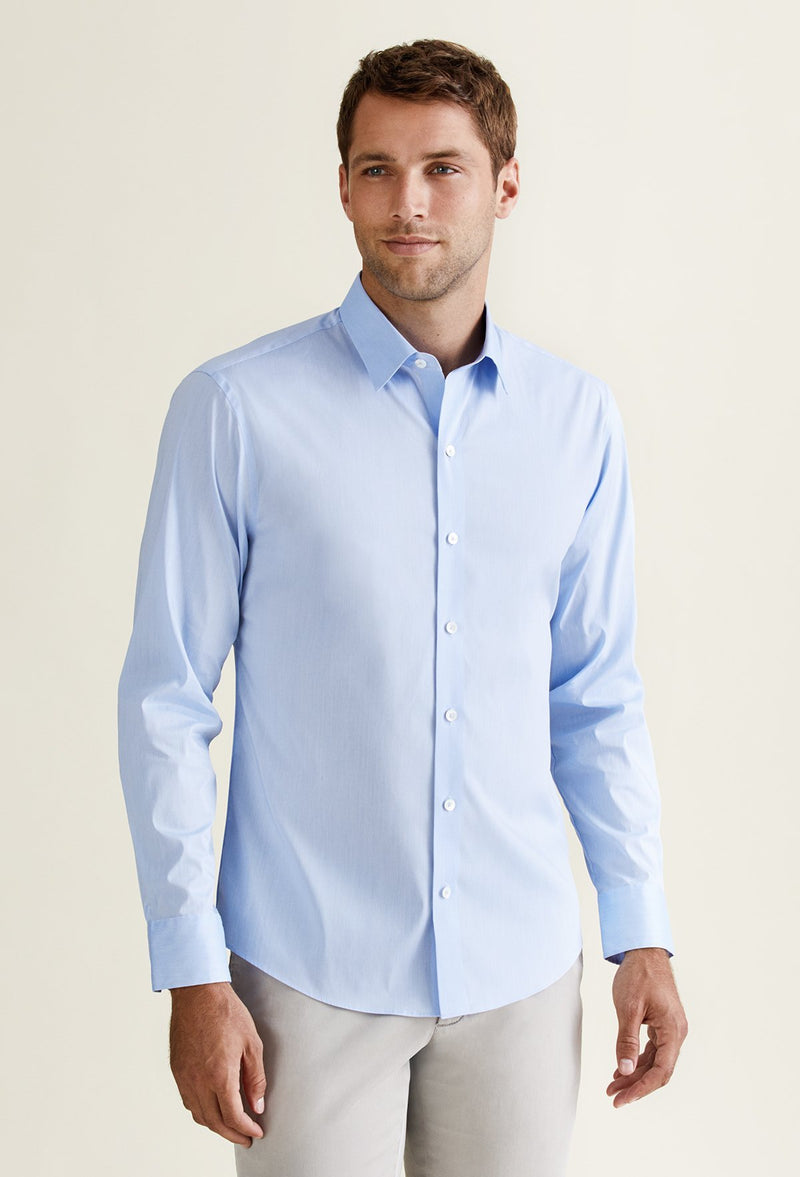 men's light blue cotton nylon shirt long sleeve