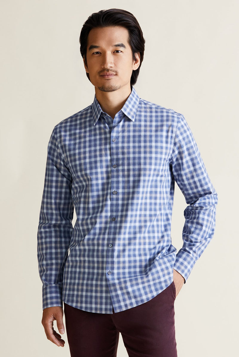 men's light blue plaid shirt with long sleeves