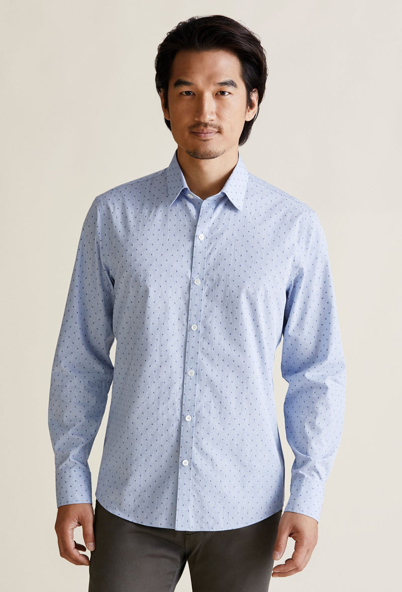 long sleeve men's polka dot dress shirt