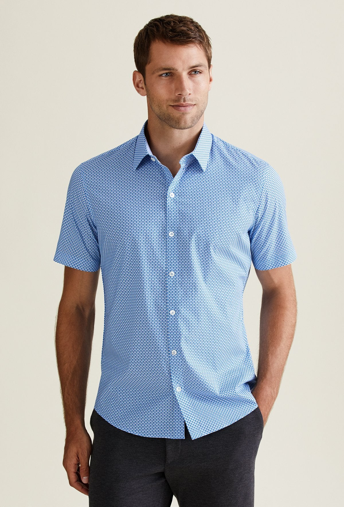 men's light blue preppy short sleeve button down shirt