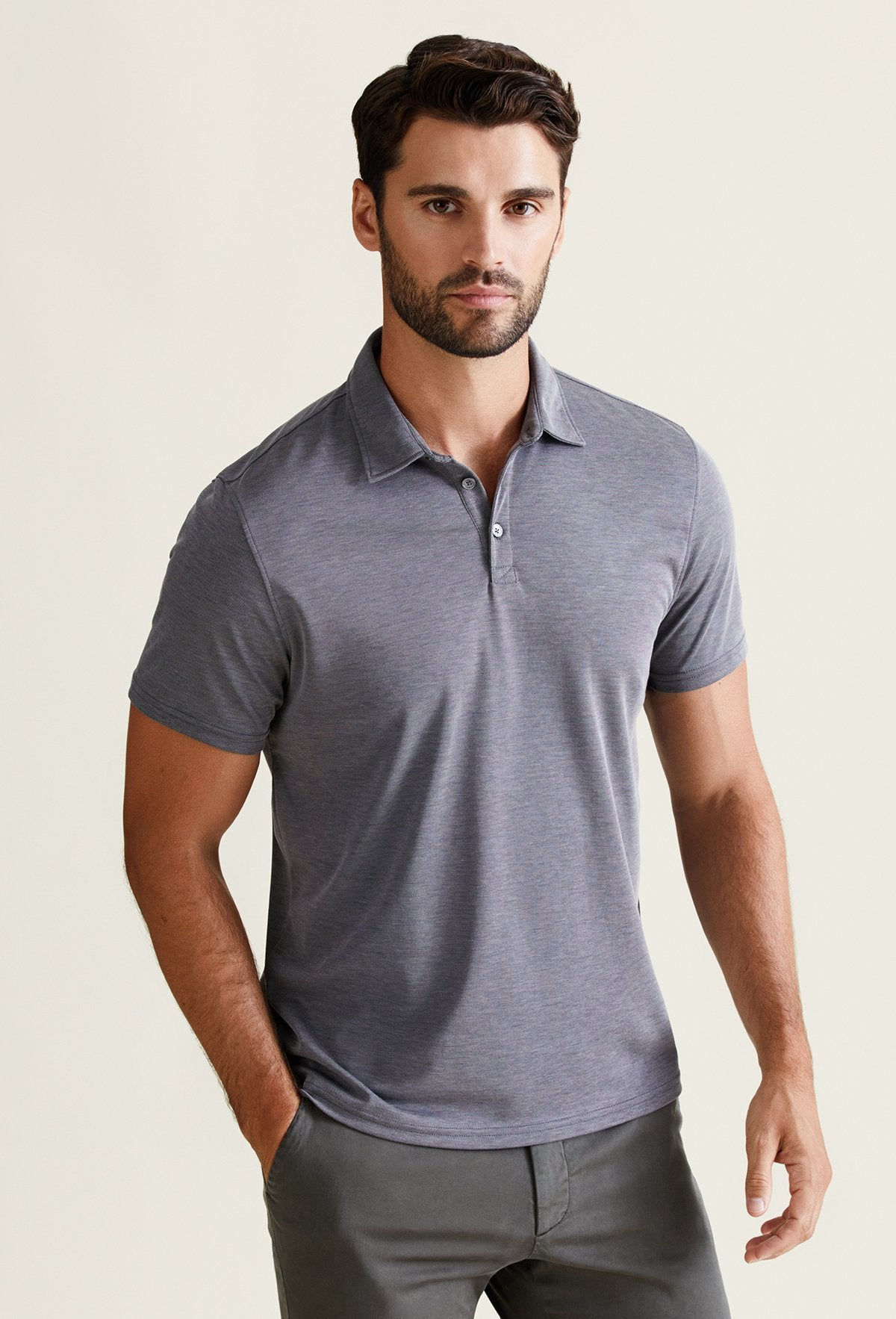 men's lightweight breathable polo shirt charcoal