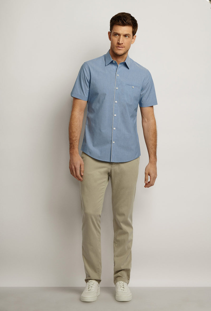men's short sleeved lightweight denim shirt