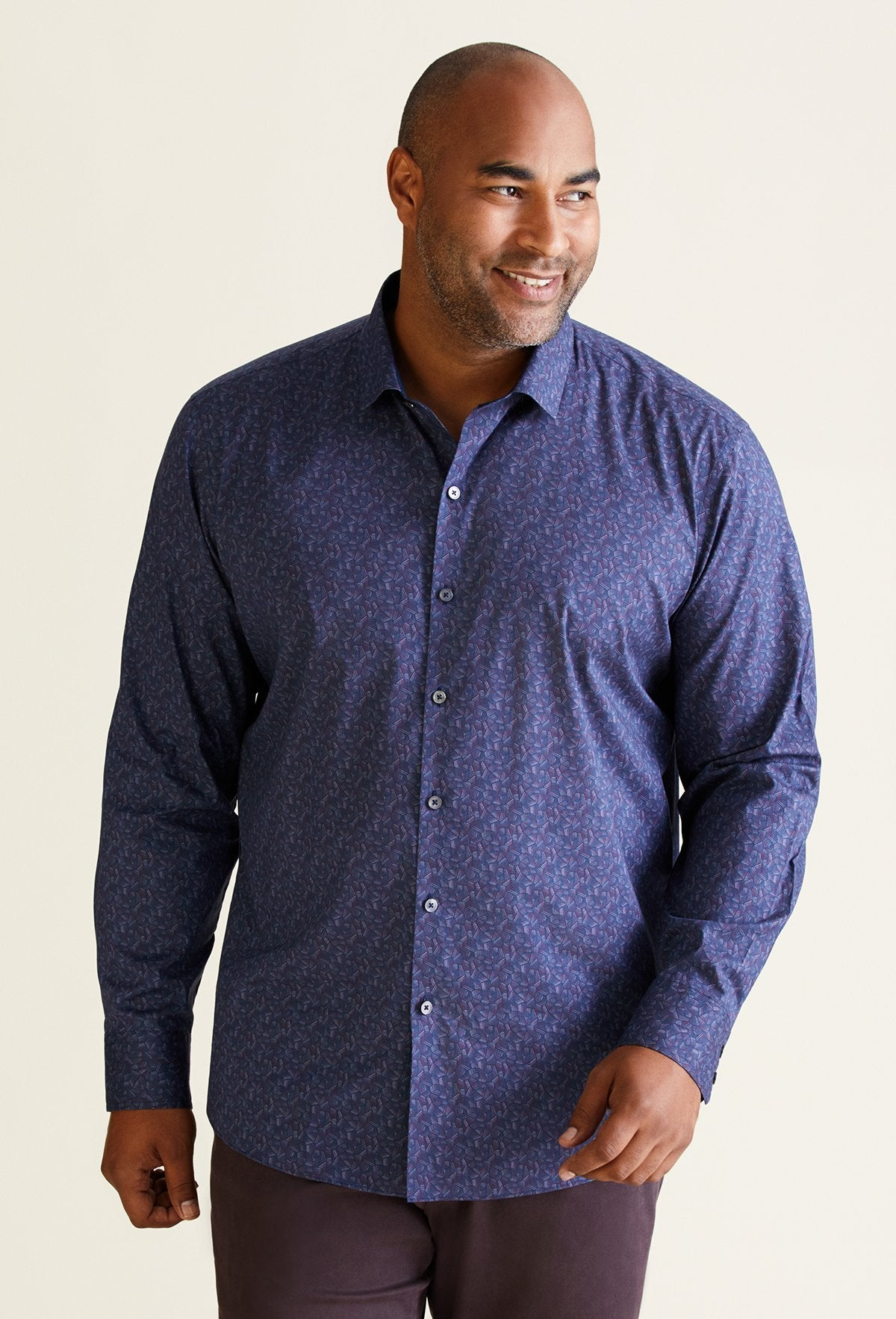men's long sleeve geo print shirt crosshatching