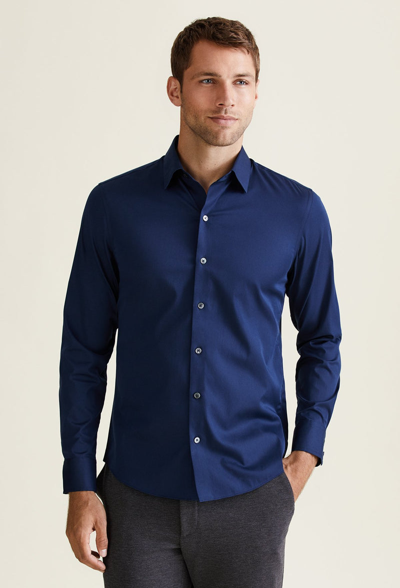 men's long sleeve nylon shirt navy blue cotton blend