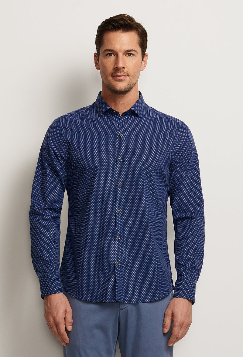 men's navy blue dress shirt cross print pattern