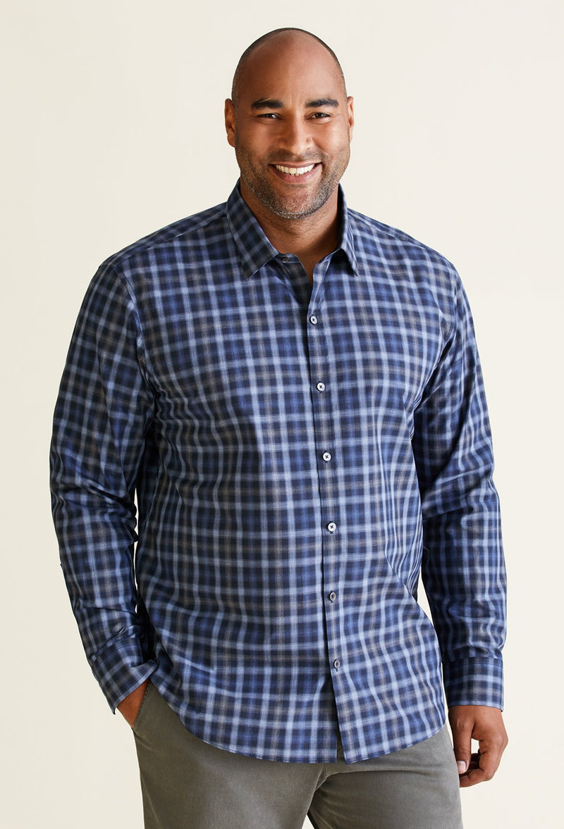 men's navy blue plaid shirt with long sleeves