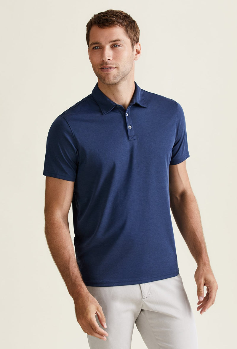 men's navy blue polo shirt from pima cotton and polyester