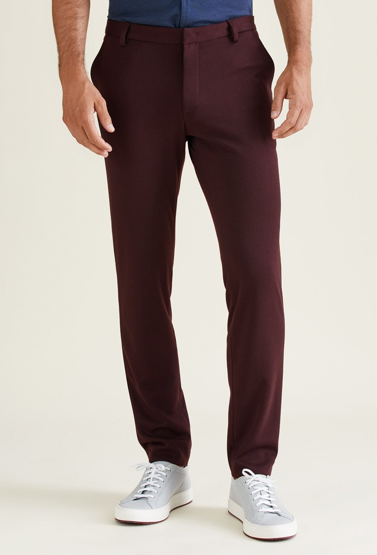 men's polyester knit pants in burgundy, charcoal gray, navy blue and black