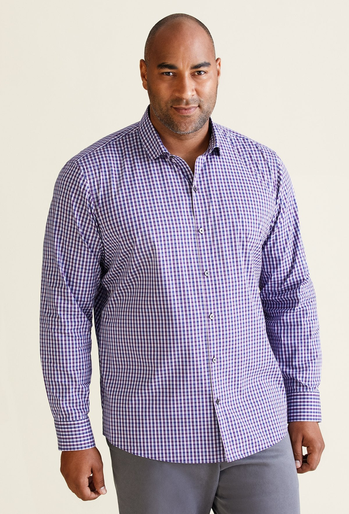 men's long sleeve purple checkered dress shirt